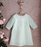 Классическое платье с вязаным кружевом Мята