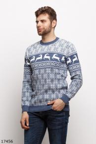Мужской свитер 17456 голубой принт
