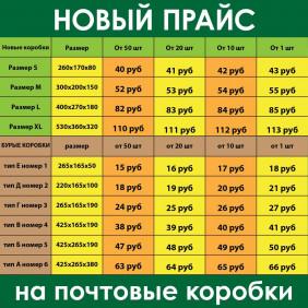 ПРАЙС НА ПОЧТОВЫЕ КОРОБКИ . от 20шт