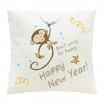 Подушка белая с рисунком Новогодняя обезьянка