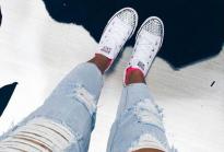 Белые низкие Converse AllStarsсо стразами!