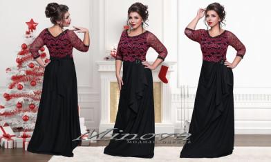 Платье №1229-1-черный+фуксия