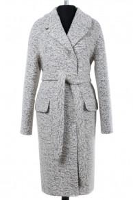 01-6288 Пальто женское демисезонное (пояс) Букле Бело-серый