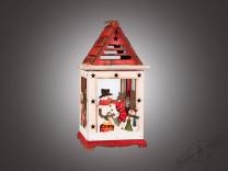 Фонарь рождественский красно-белый (дерево/металл/стекло), 1