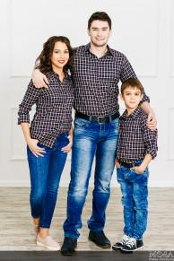 "Комплект рубашек Family Look мама+папа+сын ""Техас"""
