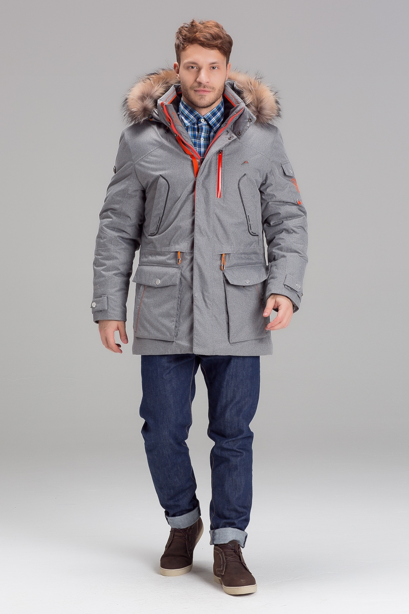 Куртка осень/зима, цвета серный меланж, т.синий