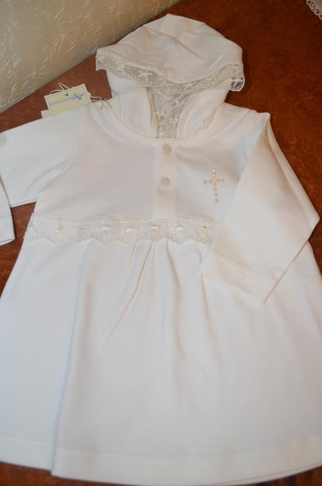 Платье на крестины с длинным рукавом. Интерлок