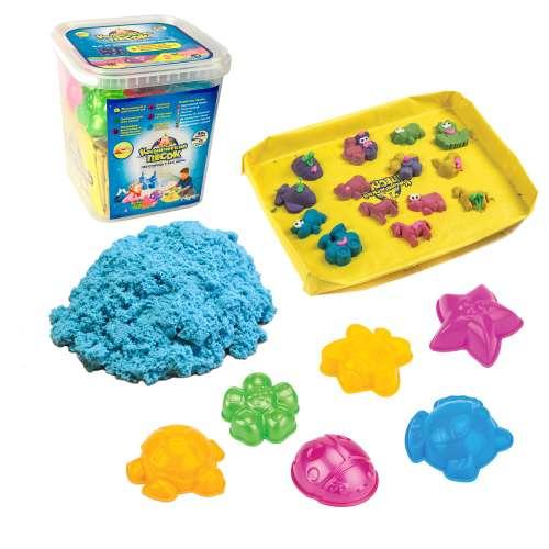 Космический песок Голубой 3 кг, набор песочница и фор