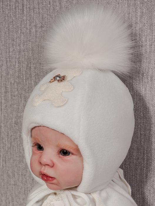 Шапочки зимние для новорожденных фото