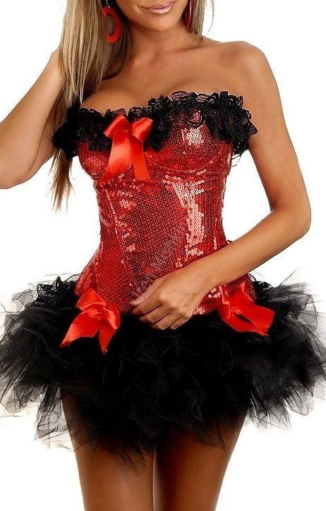 КОМПЛЕКТ корсет ВАСИЛИСА красный+юбка-цвет черный