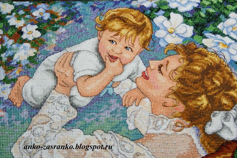 Вышивка крестом мамины радости